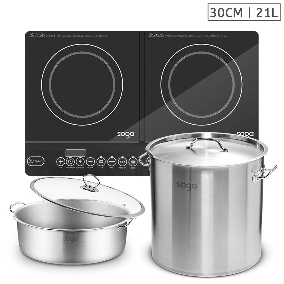 SOGA Dual Burners Cooktop Stove, 21L S/S Stockpot, 30cm Induction Casserole