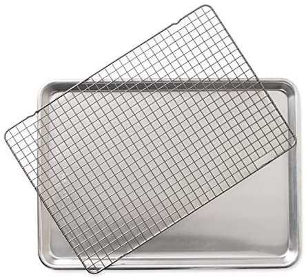 NORDIC WARE Half Sheet with Oven Safe Nonstick Grid, 2 Piece Set, 43.2 x 30