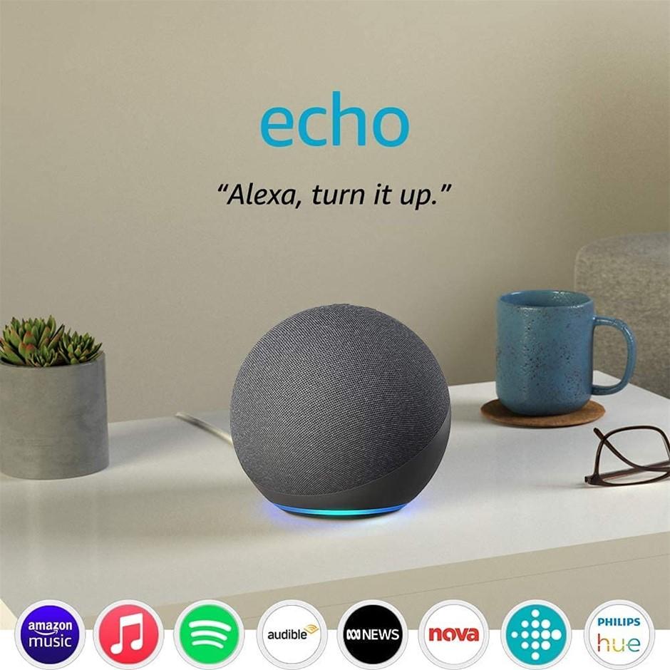 AMAZON Echo (4th Gen)   With premium sound, smart home hub, and Alexa   Cha