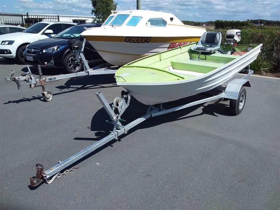 Aluminium 3.8m Dinghy with Johnson 6hp outboard Boat