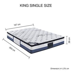 King Single Mattress Latex Pillow Top Po