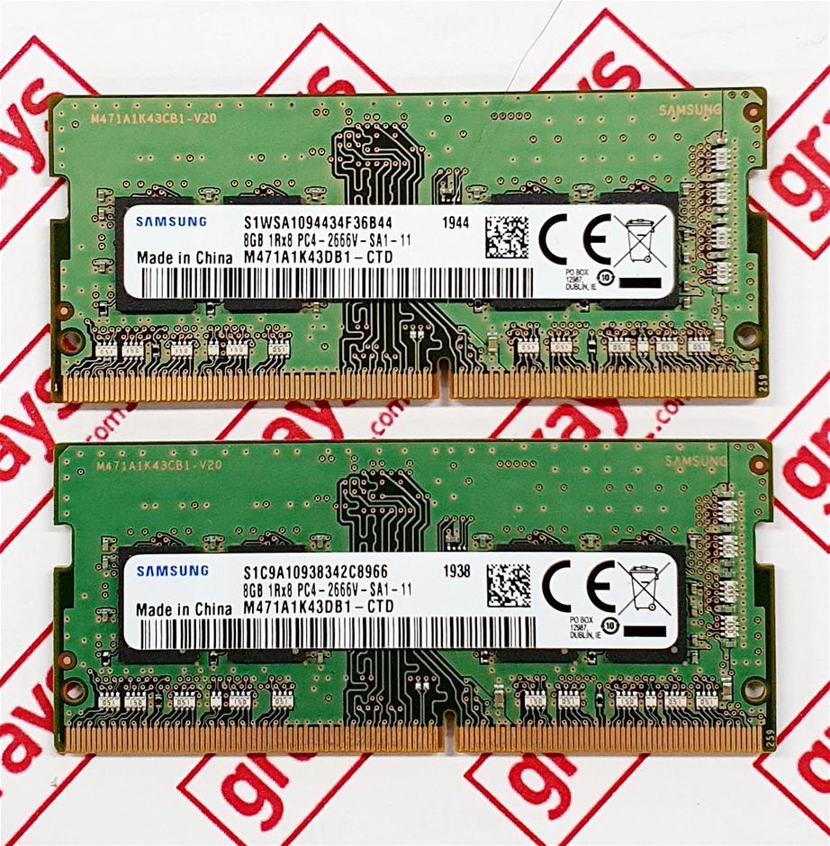 Samsung 16GB (2X 8GB Modules) PC4-2666V Sodimm 260pin DDR4 Laptop Memory