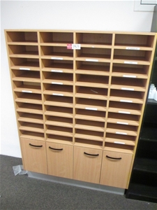 Timber Laminate Pigeon Hole Storage Unit Auction 0183