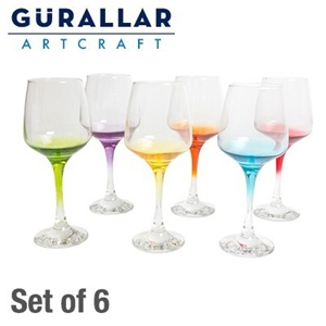 Art Craft C White Wine Gles With Coloured Stems Set
