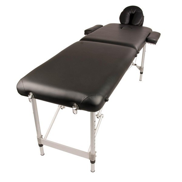 Portable Aluminium Beauty Massage Table Chair Bed 2 Fold 55cm Black