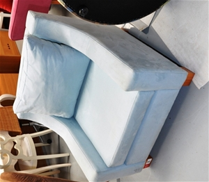 Arm Chair Duck Egg Blue Fabric Upholstery With Cushion Back E203157 A