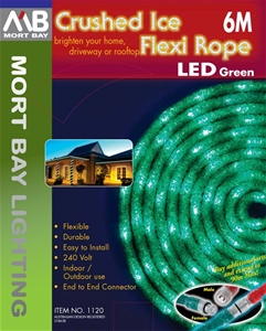 Mort Bay Led 6m Crushedice Flexi Ropelight Green Connectable
