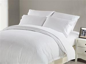 1200 TC Flat Sheet Single White Stripe