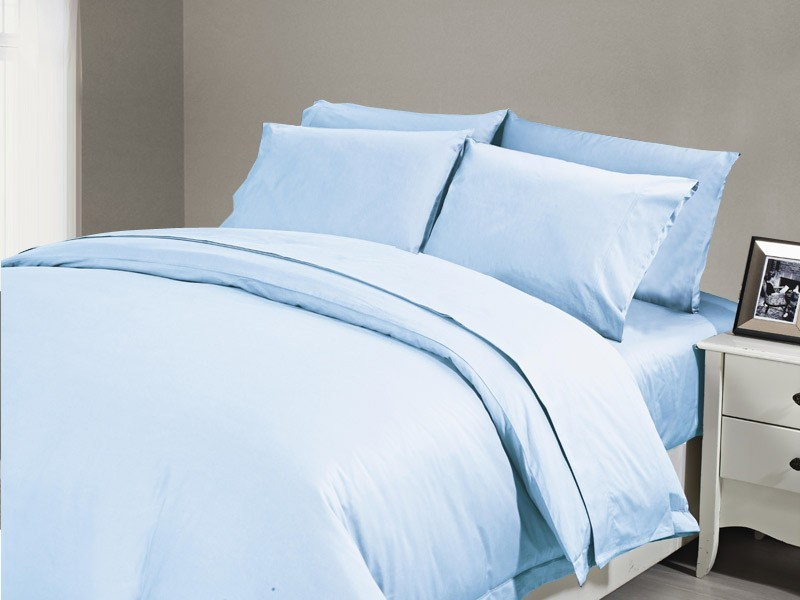 1200 TC Flat Sheet Double Sky Blue