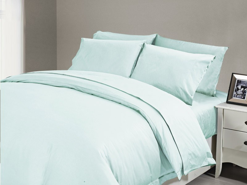 1200 TC Flat Sheet Double Duck Egg Blue