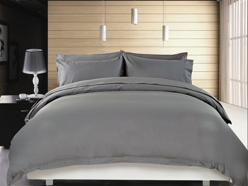 1200 TC Quilt Cover Set Queen Charcoal