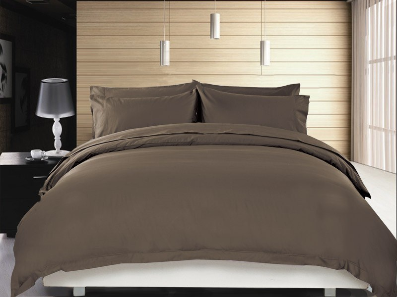 1200 TC Quilt Cover Set Single Chocolate