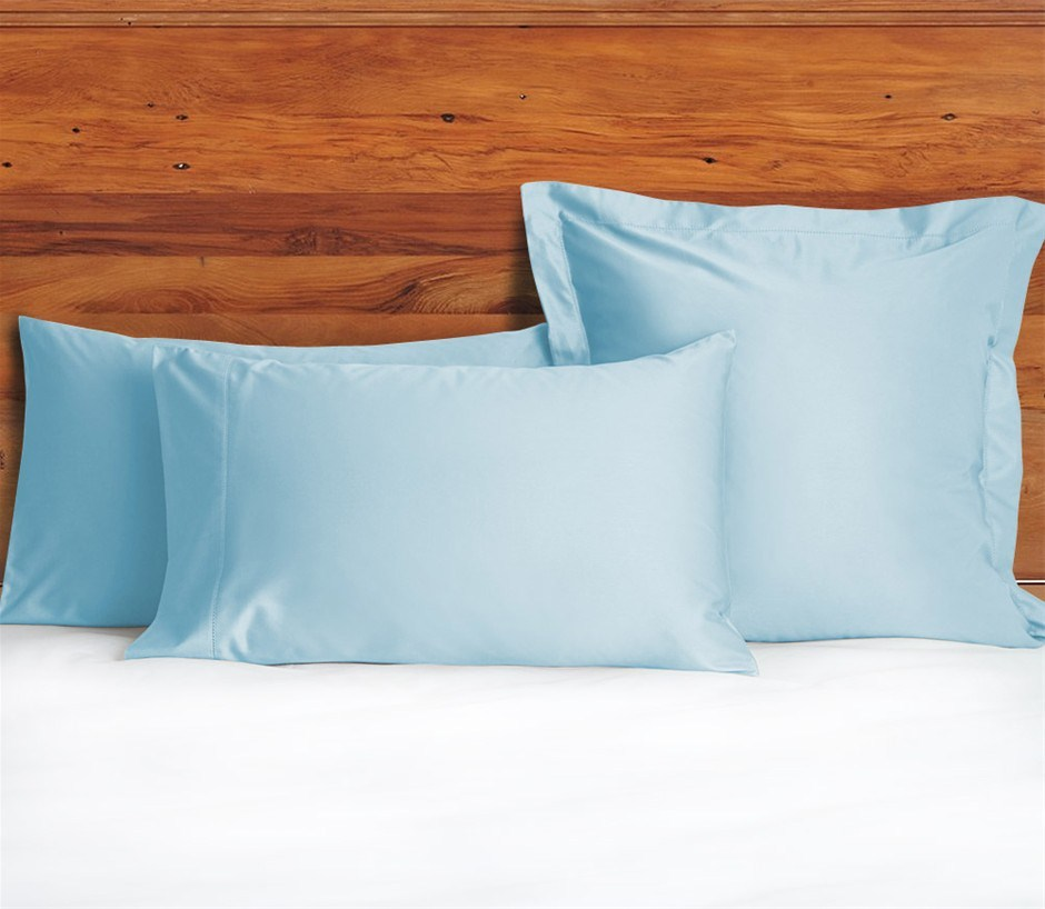 1200 TC European Pillow Cases Sky Blue x 2
