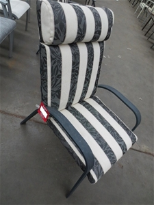 High Back Aluminium Outdoor Chair With Striped Padded