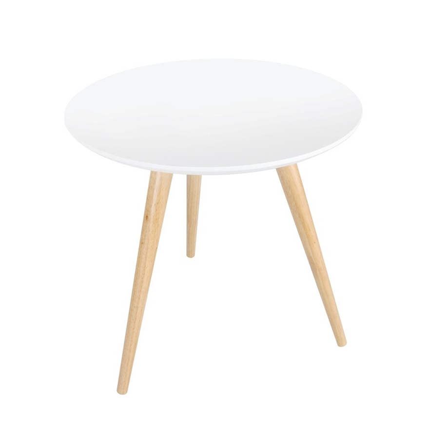 Round Bedside Coffee Table W Rubber Wood Legs