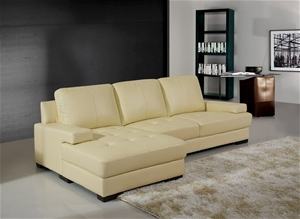 Jacobson Sofa Ivory Leather Match 3 Seater With Right