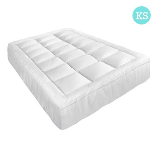Giselle King Single Mattress Topper Pillowtop 1000GSM Microfibre Filling