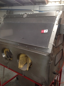 Sandblasting Cabinet - fabricated stainless steel cabinet, flap up and down