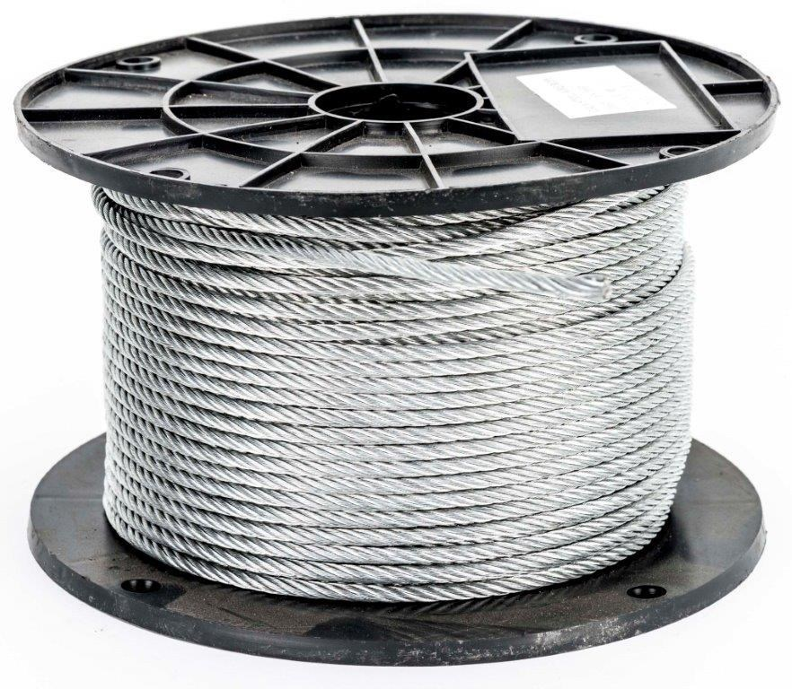 Reel 100M x Galv. Wire Rope, 6mm dia. Construction 6x19 FC. Buyers Note - D