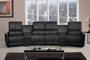 Oscar 4 Seater Home Theatre Reclining Lounge Black