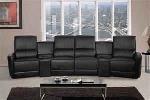Oscar 4 Seater Home Theatre Reclining Lounge Black Auction Graysonline Australia