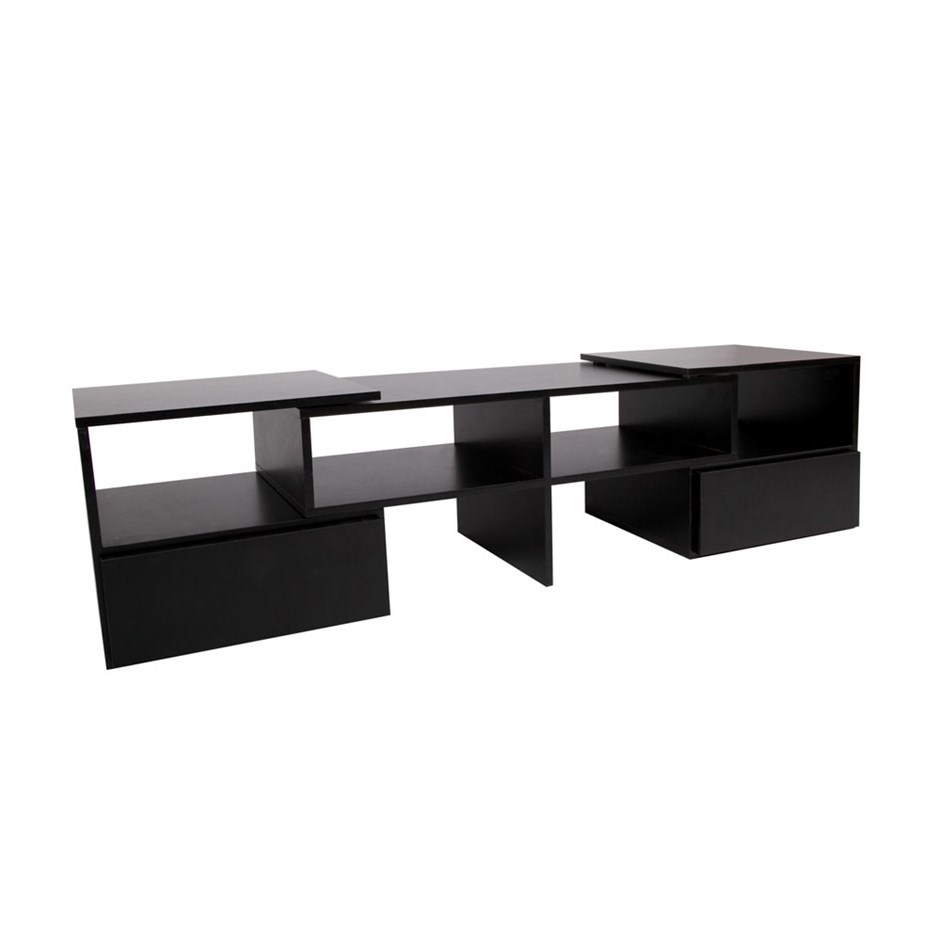 Artiss Entertainment Unit With Cabinets Black
