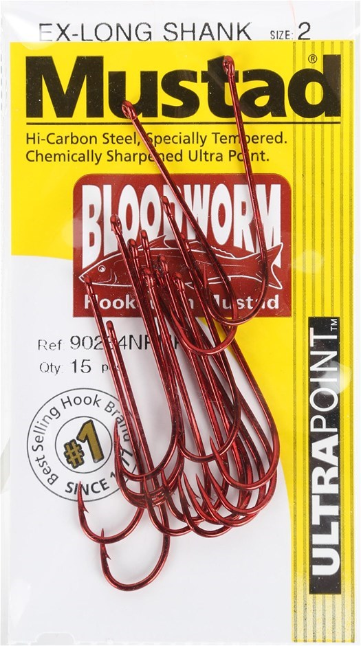 10 Packs of 15 x MUSTAD BLOODWORM Fish Hooks, Size 2, Ex-Long Shank. Buyers