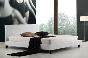 King PU Leather Bed Frame White
