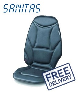 buy new sanitas massage seat cover with heat and car adaptor graysonline australia. Black Bedroom Furniture Sets. Home Design Ideas