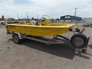 1990 4 5m Flat Bottom Punt On Trailer Auction 0002