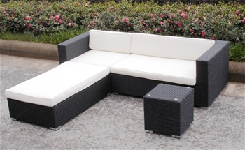 Wicker rattan outdoor setting chaise new gartemoebe for Black outdoor wicker chaise
