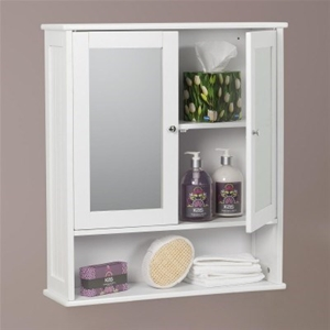 Buy Carre Bathroom Mirror 2 Door Wall Cabinet White