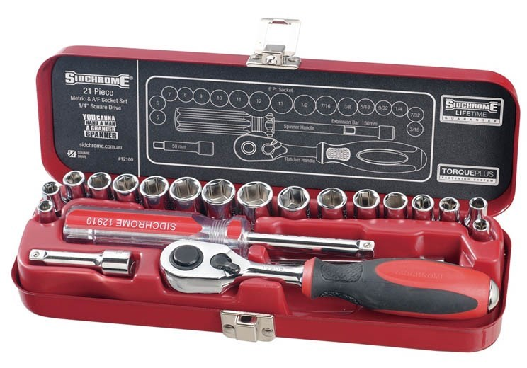 SIDCHROME 21pc 1/4`` Drive Metric & A/F Socket Set, Contents: See Image. Bu