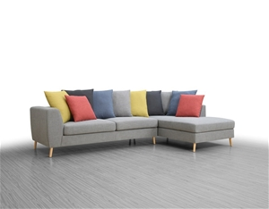 Fabric Sofa With Chaise In Wester Shadow