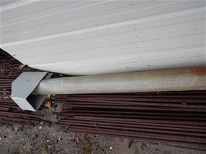 Site used temporary power pole, galvanised steel, approx 100 x 6000mm(L) wi