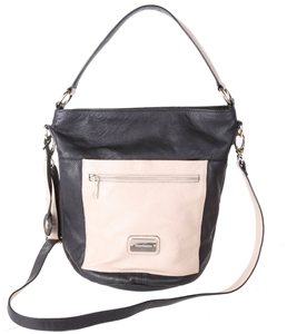 Trent Nathan Black And Cream Leather Handbag N B Tear Inside Zipper Pocket
