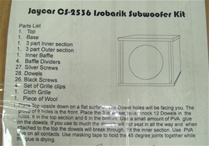 Jay Car CS-2536 Isobaric sub woofer kit - Must inspect as pieces may be mis